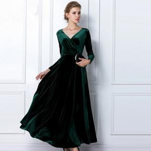 Emerald Green Velvet Dress Long Par..