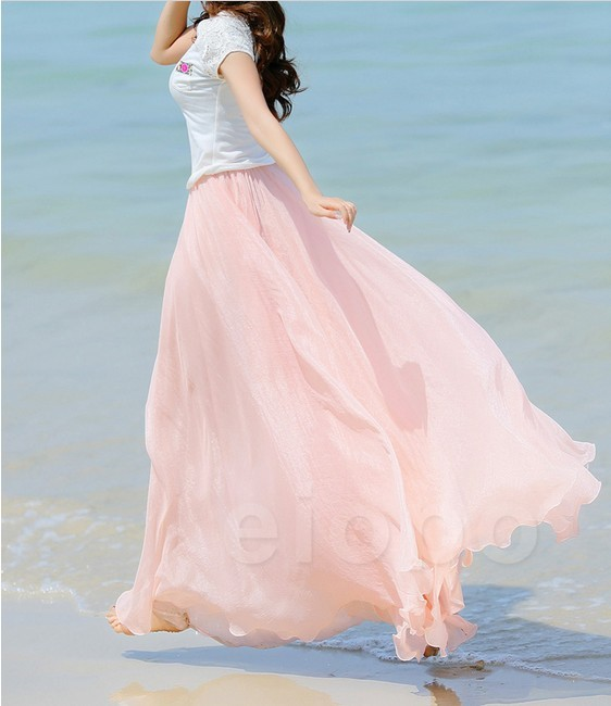 b01d2caac0524 Baby Pink Long Chiffon Skirt Maxi Skirt Ladies Silk Chiffon Dress Plus  Sizes Sundress Beach Skirt