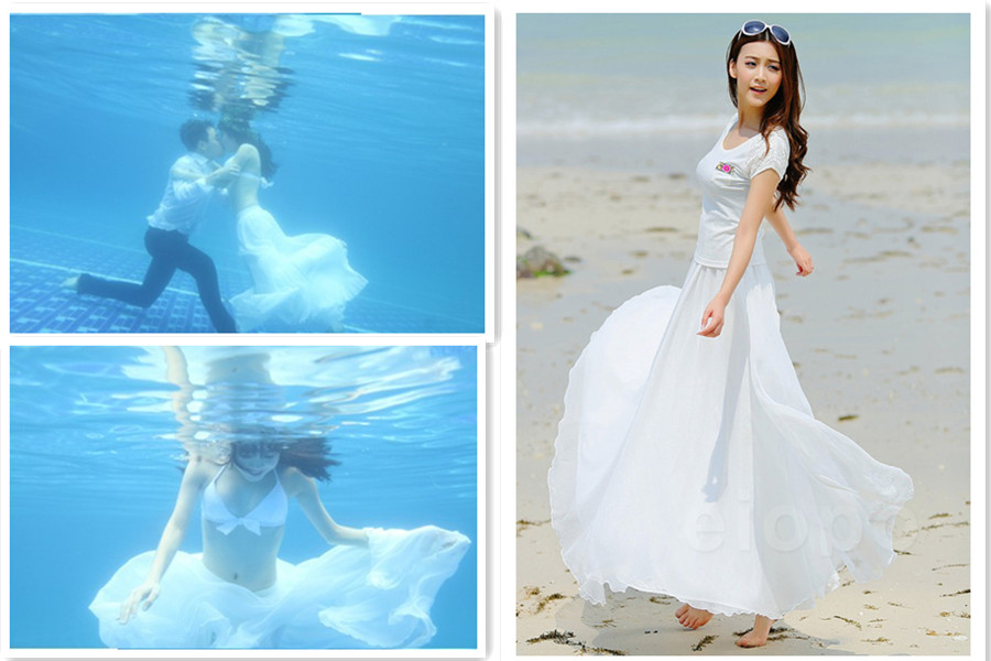 cccb619d4ebf5 White Long Chiffon Skirt Maxi Skirt Ladies Silk Chiffon Dress Plus Sizes  Sundress Beach Skirt