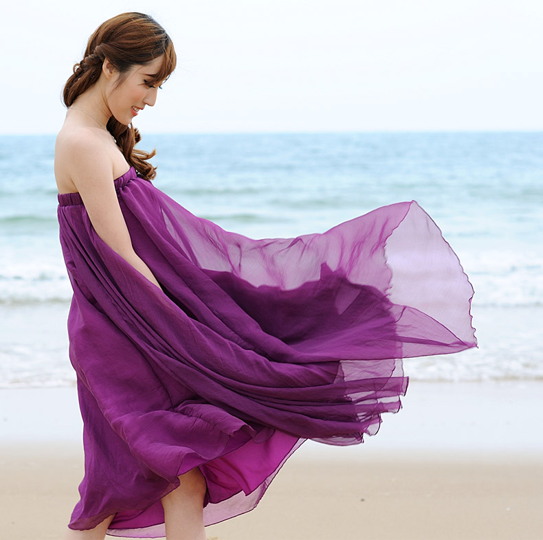 63b5f1a568 Purple Long Chiffon Skirt Maxi Skirt Ladies Silk Chiffon Dress Plus Sizes  Sundress Beach Skirt Oversize