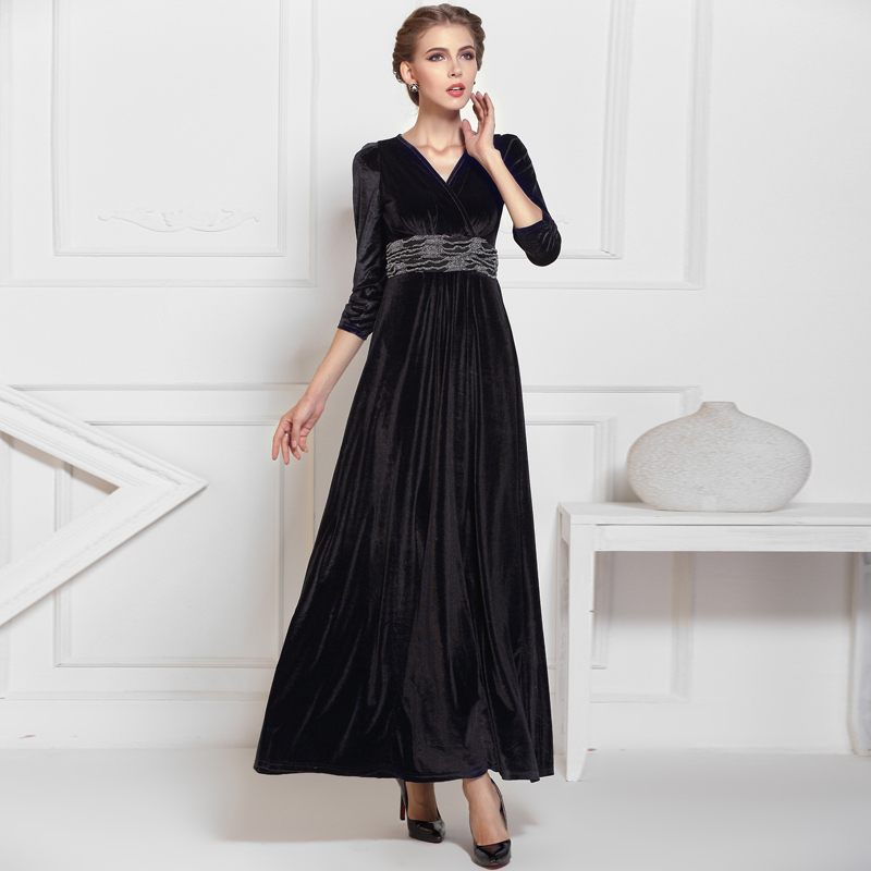 Black Formal Long Velvet Maxi Dress Gown Plus Size Evening Prom