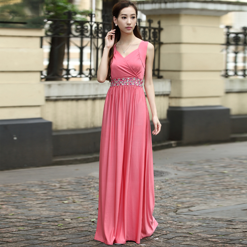 Coral Pink Diamante Long Evening Party Bridesmaid Maxi Dress Gown ...