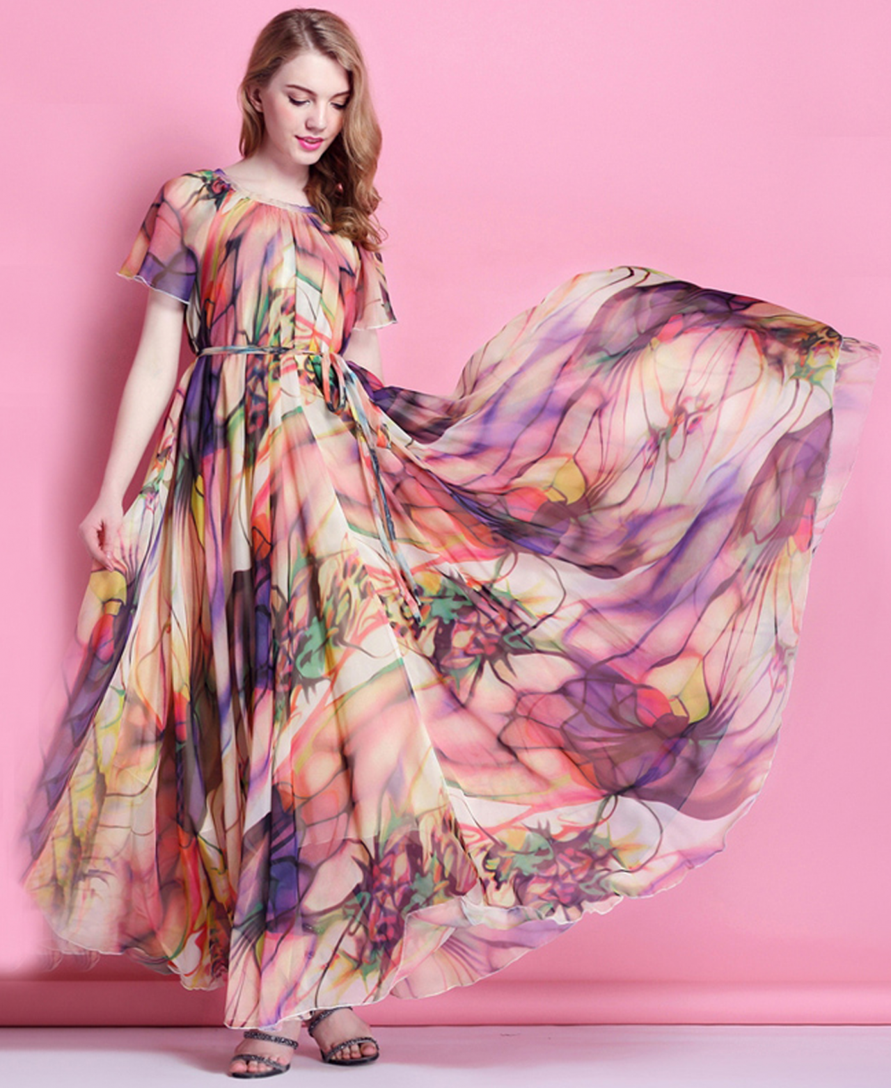 2015 Summer Chiffon Floral Long Beach Maxi Dress Lightweight ...