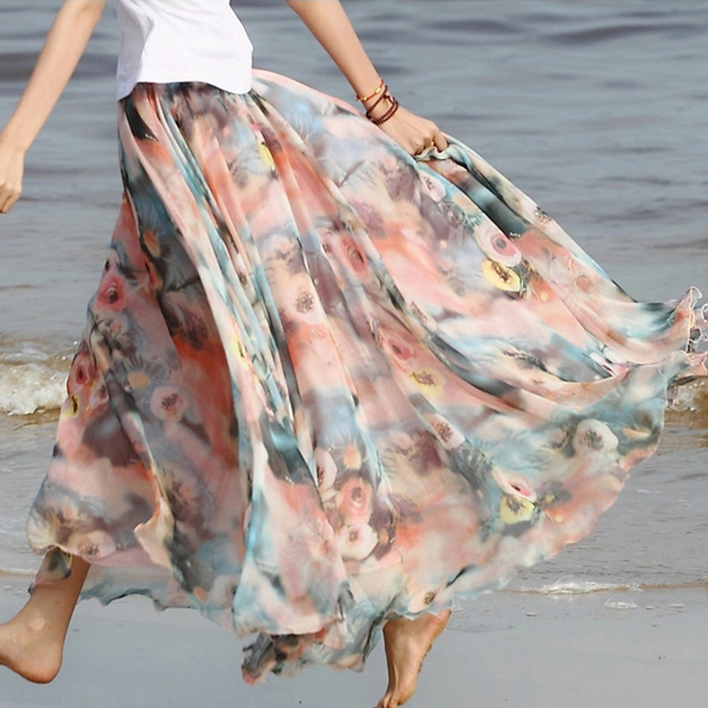 ae95f4a896dc7 Summer Chiffon Floral Lightweight Boho Summer Beach Long Maxi Skirt  Bridesmaid Dress