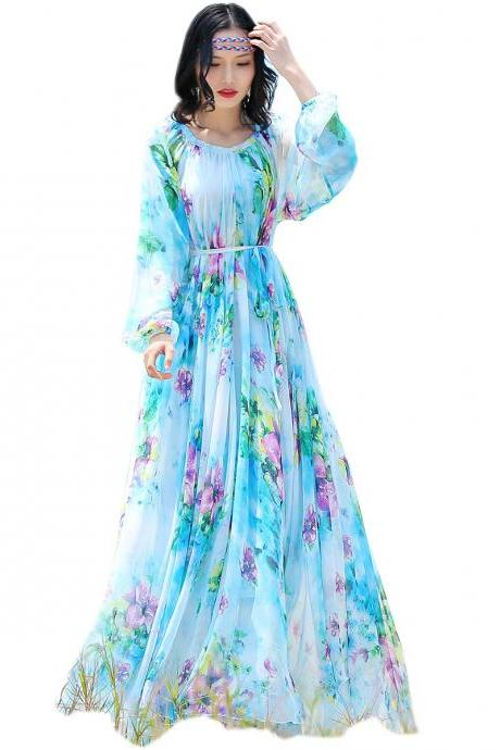 2019 chiffon Long Sleeve maxi dress bohemia dress full plus size celebrity/graduation/Dinner Dress Beach Sundress