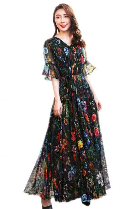 Black Bell Sleeve Flowy Chiffon bohemia Summer Floral Long Beach Maxi Dress Lightweight Sundress plus size vacation Hawaii Maxi Dress