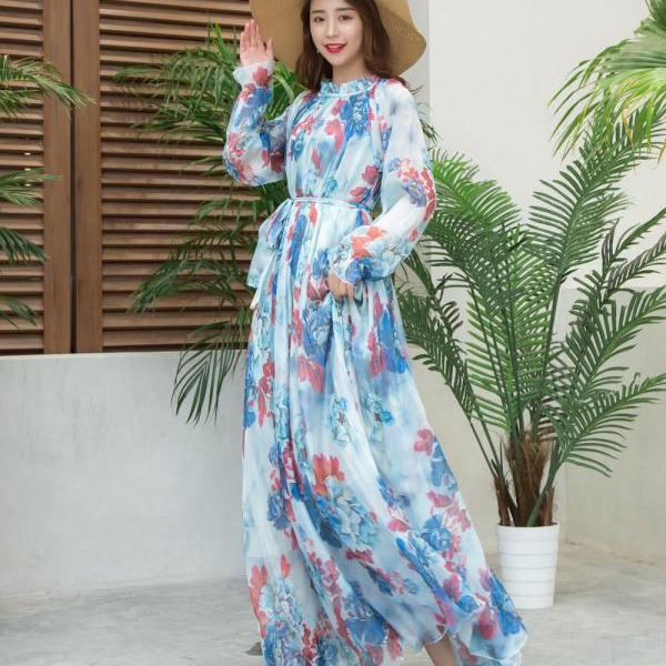 Women's Long Sleeve Floral Holiday Beach Bridesmaid Maxi Dress Flowy Light Beach Holiday Sundress