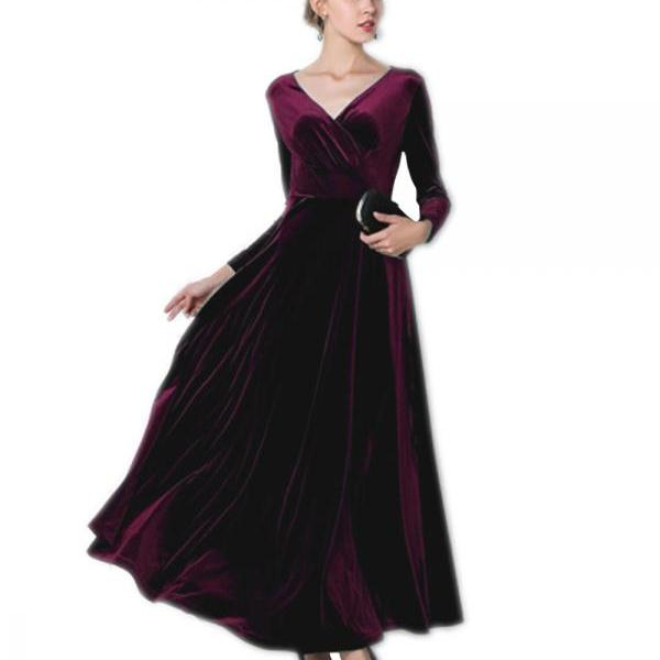 Burgundy Red Velvet Dress Long Party Formal Evening Maxi Dress Cocktail Gown Long Sleeved Maternity Dress Dinner Dress