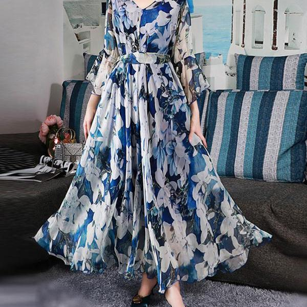 Woman Elegant Causal Chiffon Maxi Dresses Plus Size Summer Bohemian Holiday Beach Dress Elegant Ladies High Quality Clothing