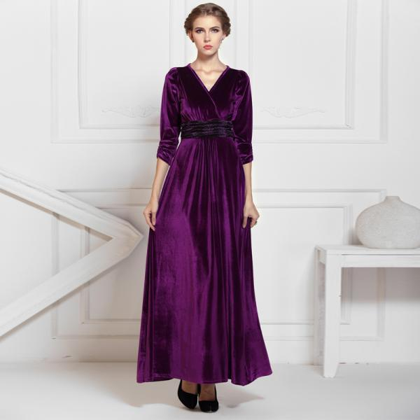 4af93e698136 Purple 3 4 Sleeved Formal Evening Party Long Velvet Maxi Dress Gowns ...
