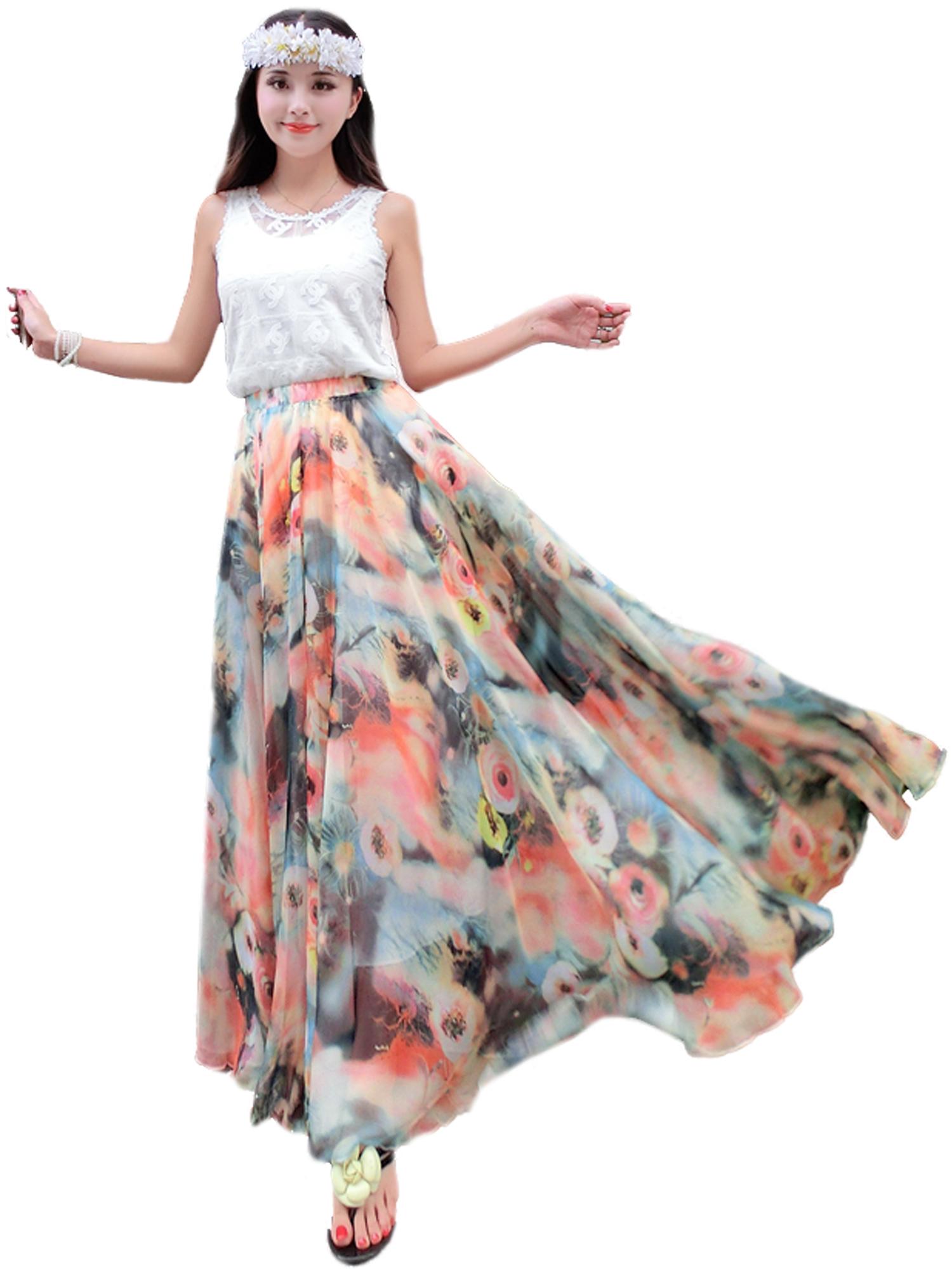 f1d31eaa1c32b Summer Chiffon Floral Lightweight Boho Summer Beach Long Maxi Skirt  Bridesmaid Dress on Luulla