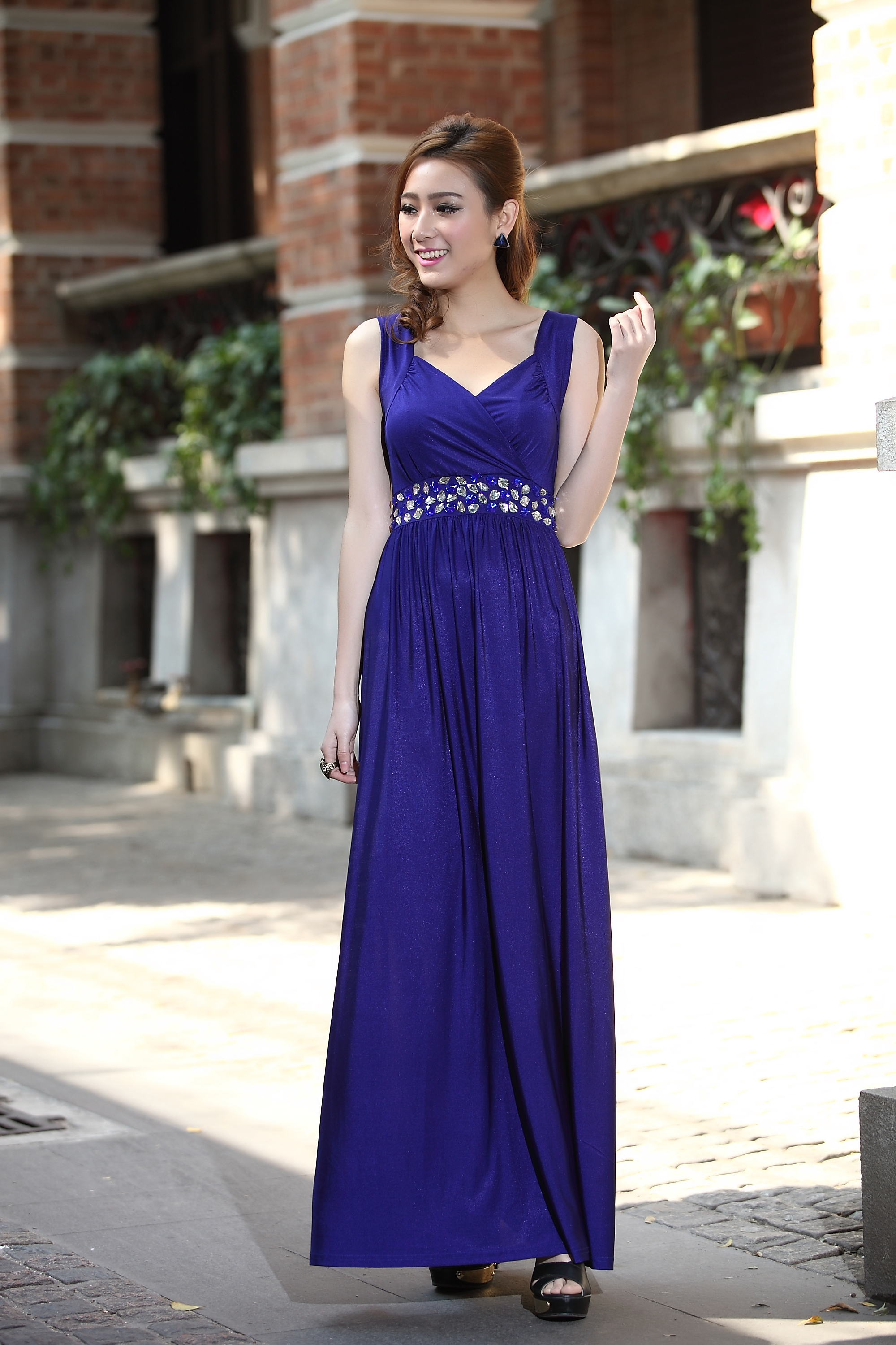 Royal Blue Formal Cocktail Bead Prom Party Evening Maxi Dress ...