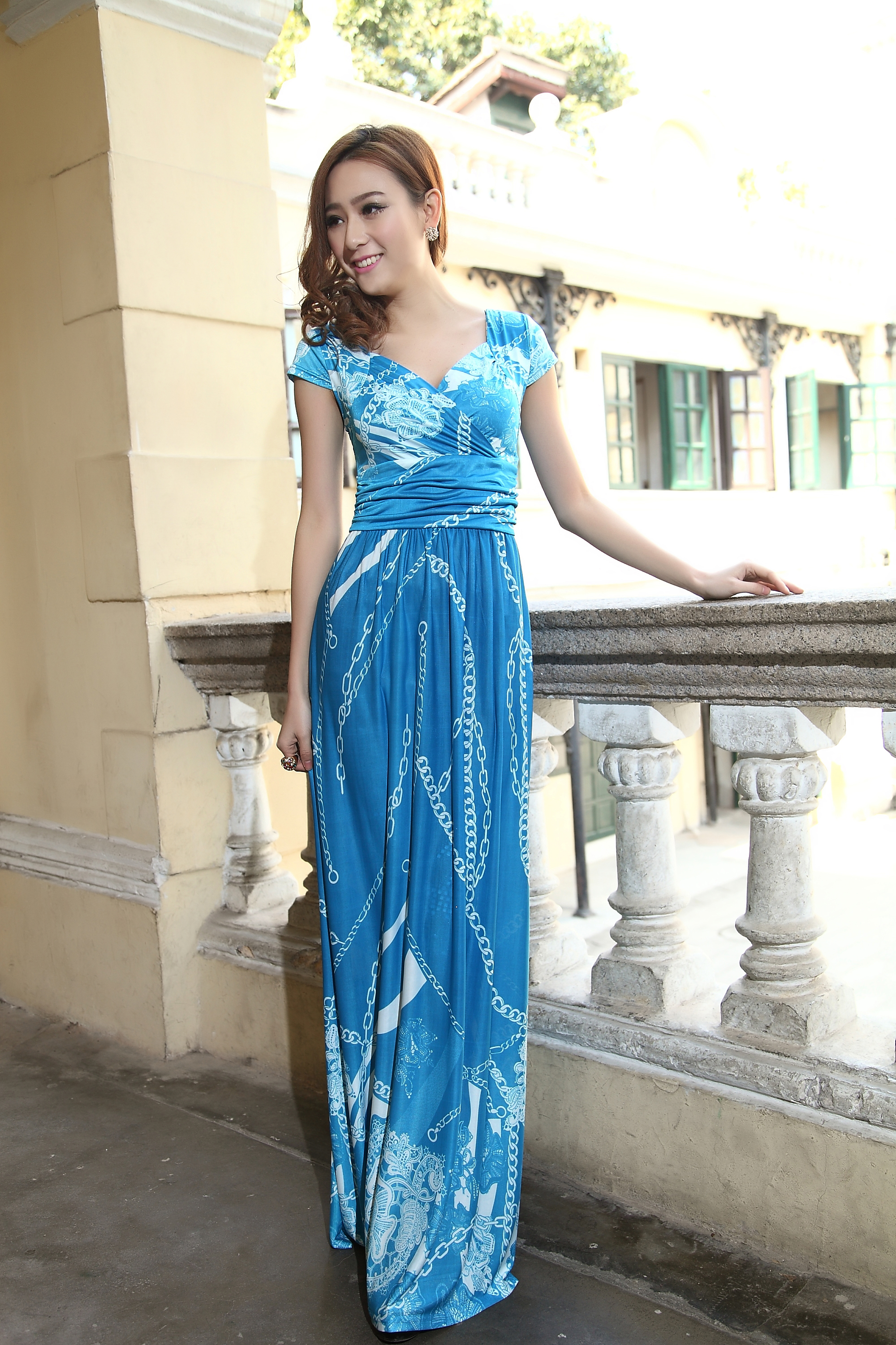 Blue Cap Sleeves Summer Bohemia Style Maxi Dress Holiday