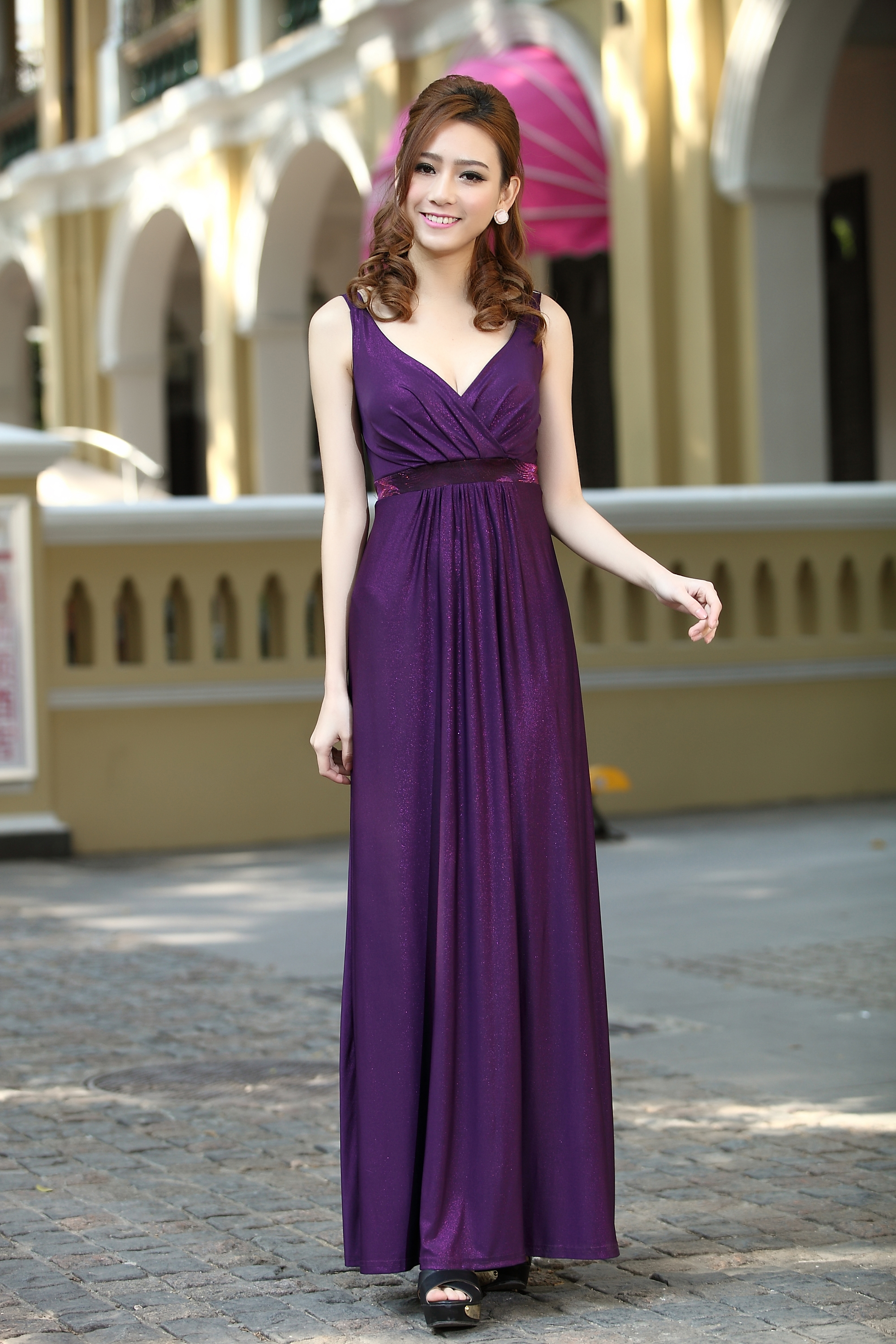 Purple long party formal evening maxi dress bridesmaid for Purple plus size dresses for weddings