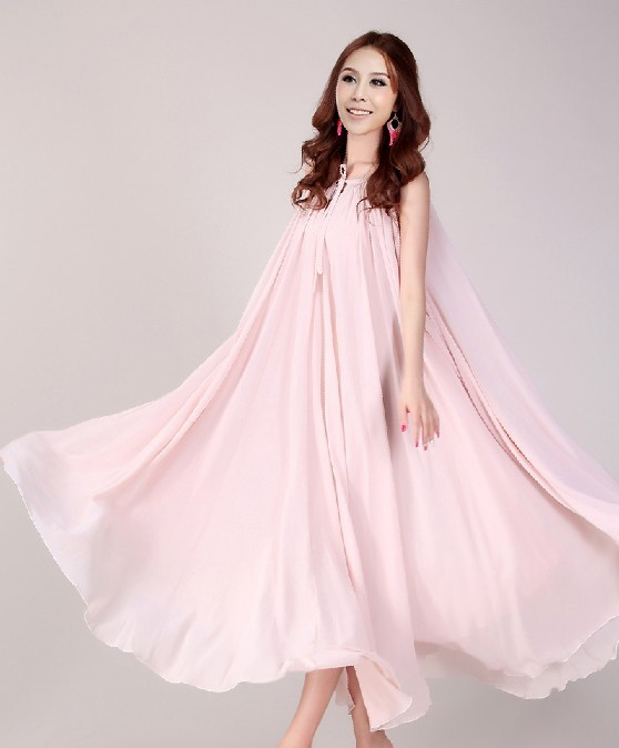 Nude Pink Long Evening Wedding Party Dress Lightweight Sundress Plus