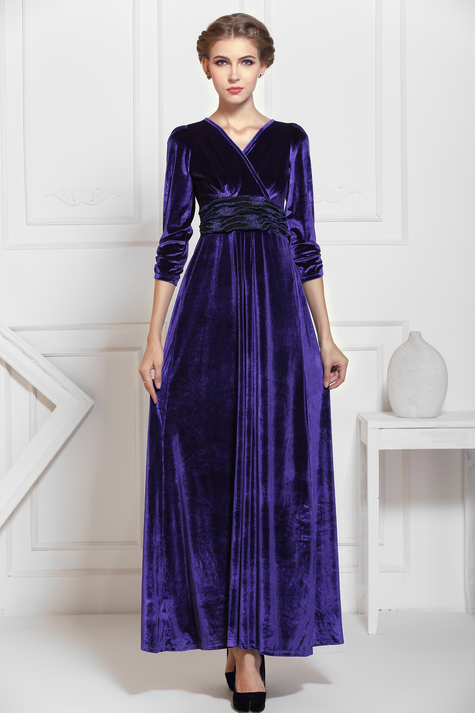 Navy Blue Winter Formal Velvet Long Maxi Dress
