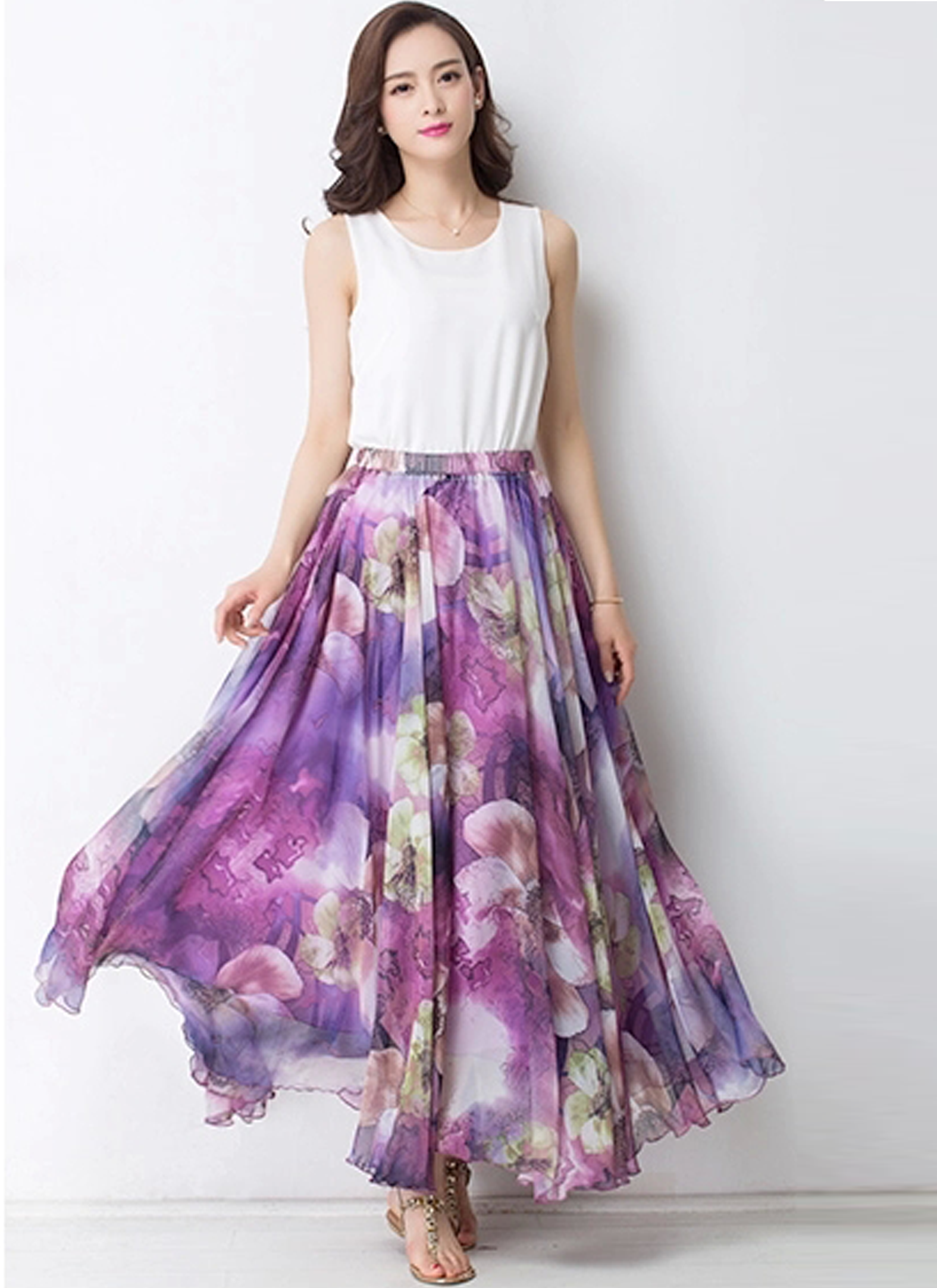 Summer Chiffon Floral Lightweight Boho Summer Beach Maxi Skirt ...