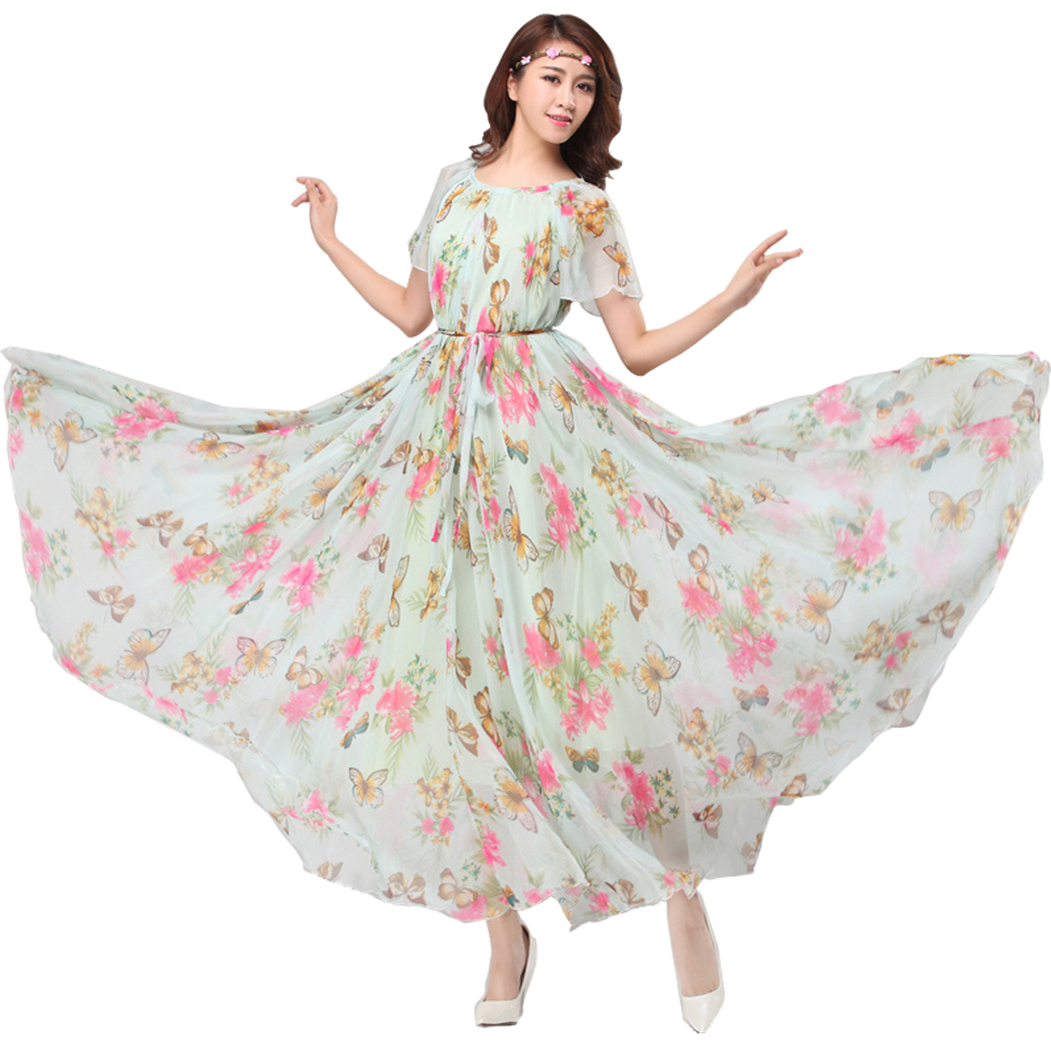 Chiffon Butterfly Sleeves Bridesmaid Holiday Beach Floral Maxi Dress