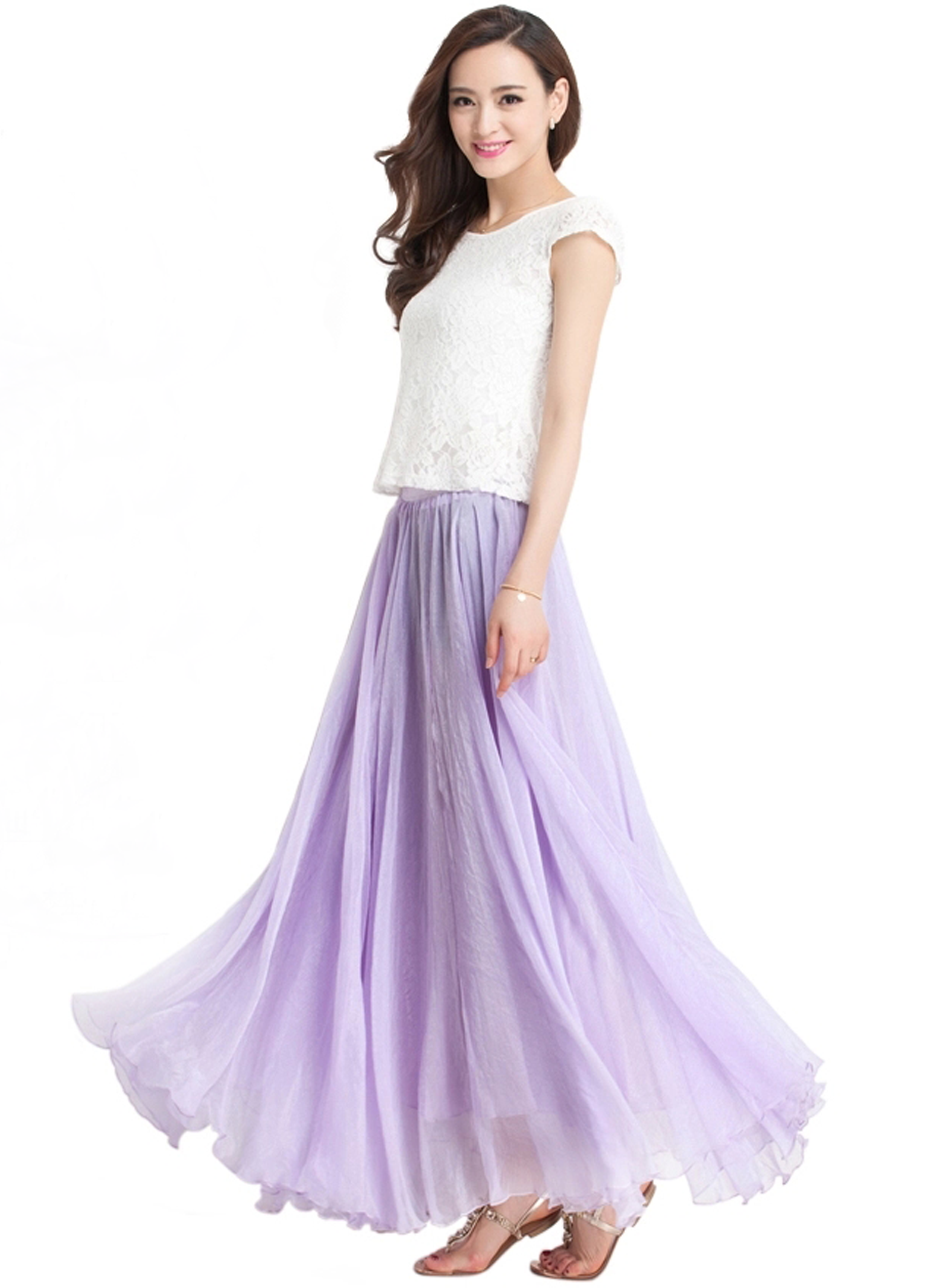 Lavender long chiffon skirt maxi skirt ladies silk chiffon dress lavender long chiffon skirt maxi skirt ladies silk chiffon dress plus sizes bridesmaid sundress beach skirt ombrellifo Image collections