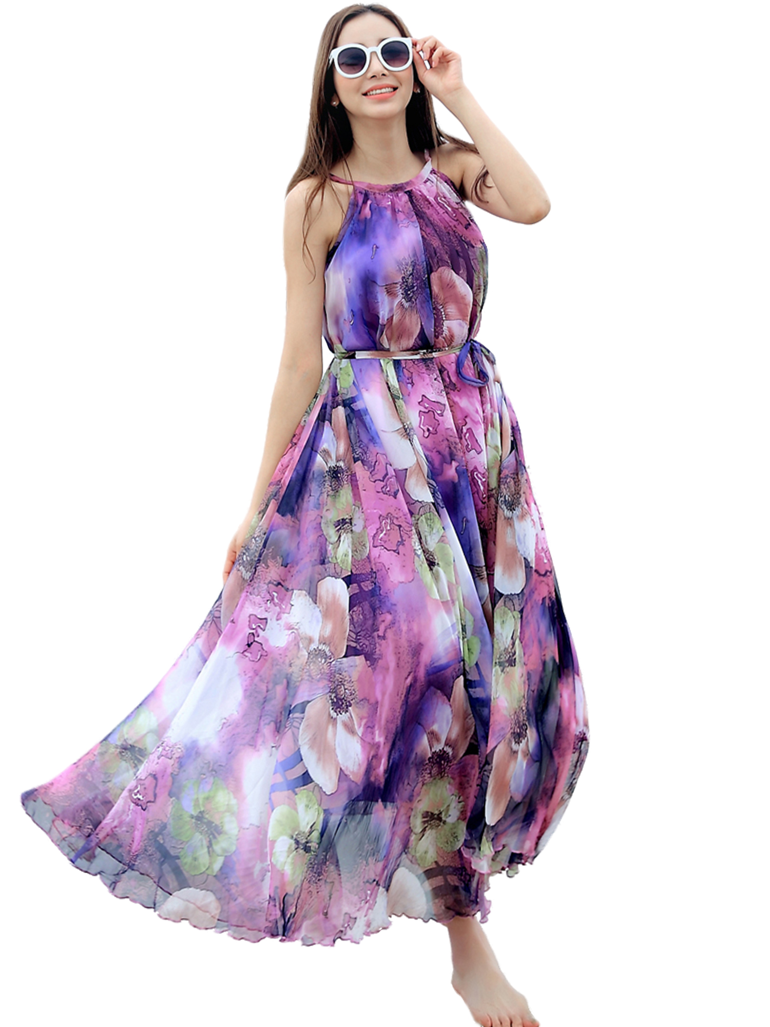 149e68ec05e Purple Floral Long Beach Maxi Dress Lightweight Sundress Plus Size Summer  Dress Holiday Beach Dress on Luulla